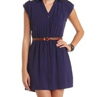 Button-Up Tab Sleeve Shirt Dress by Charlotte Russe - Medieval Blue