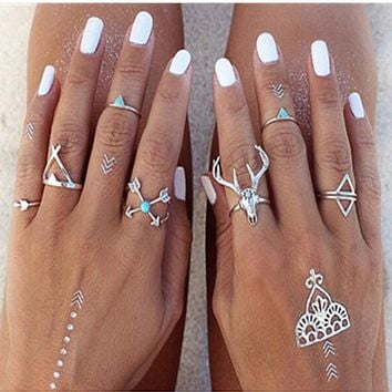 Bohemian Style 7pcs/Set Vintage Anti Silver Rings Moosehead Arrows Lucky Rings Set for Women Party Boho Free Shipping