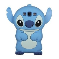 Blue Disney 3d Stitch Silicone Soft Case Cover for Samsung Galaxy III S3 I9300 Xmas Gift