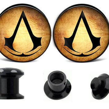 Assassins creed ear plugs ,fake gauge earrings,acrylic ear plugs,wedding plugs,ear plugs body jewelry