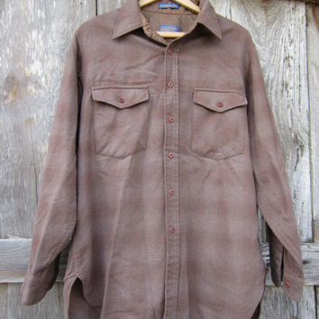 80s Pendleton Shadow Plaid Wool Shirt, Men's L // Vintage Brown Winter Shirt // Plaid Outdoor Shirt