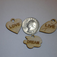 Set of three wood engraved cut outs live love dream sayings miniature