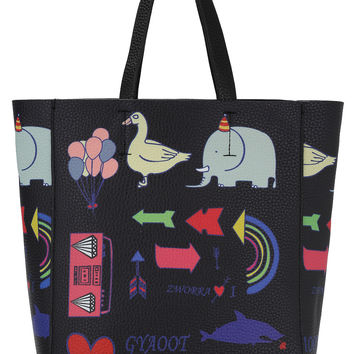 Black Animal Print Two Pieces Tote Bag