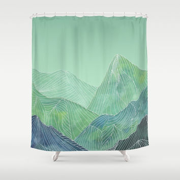 Lines in the mountains - green Shower Curtain by vivigonzalezart