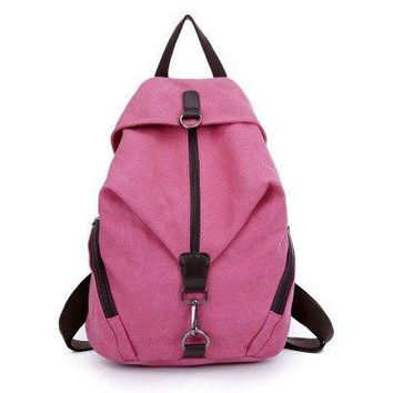 University College Backpack Simple pure color design fashional women   school student book bag leisure  summer travel bagAT_63_4