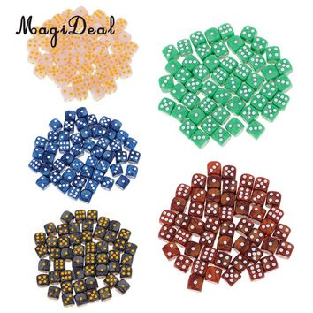MagiDeal Acrylic 50Pcs/Set D6 Round Corner Dice 16mm for Funny Table Games Dungeon& Dragons Party Role Playing Game Toy 5 Colors