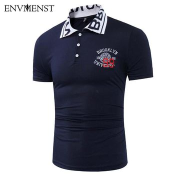 Envmenst 2017 Summer Style Men's Letter Printed Collar Fashion Men Polo Shirts Cotton Slim Fit Casual Camisas Polos