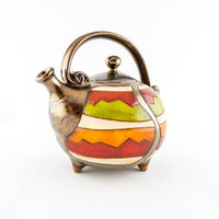 Colorful ceramic teapot, pottery teapots, ceramics and pottery, red teapot, teapot set, stoneware teapot,