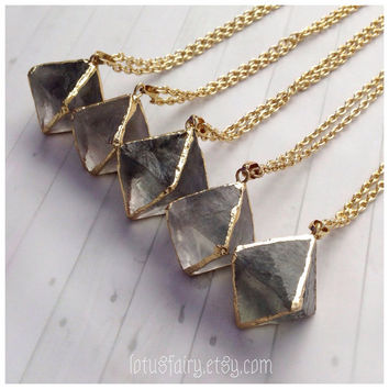 Fluorite gemstone pendant octahedron, large stone, long layered necklace, gold, bohemian jewelry, hippy, gypsy, summer look