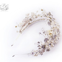 Rhinestone Flowers Swarovski Crystal Bridal tiara Hair band Wedding Jewelry Hair Accessory