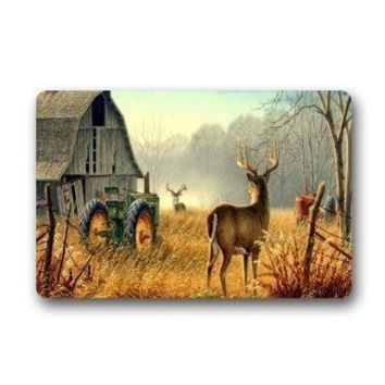 "Autumn Fall welcome door mat doormat Custom cool ancient tractor and cute deer Welcome  Rug Indoor/Outs Welcome  Decor Rug 23.6""(L) x 15.7""(W) AT_76_7"