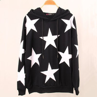 All Over Stars Print Hood Sweatshirt