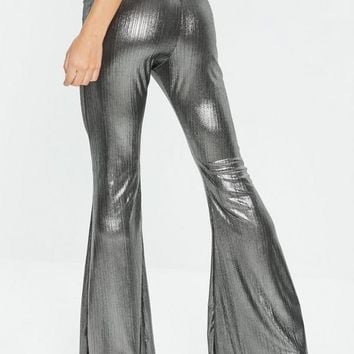 Missguided - Silver Metallic Kick Flare Trousers