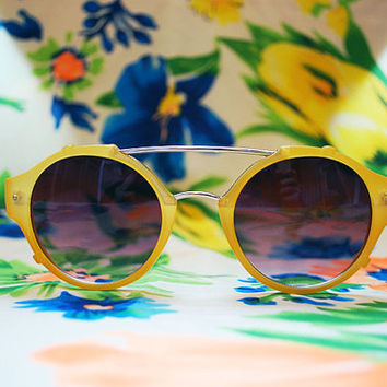 The Lenny | Vintage Hippie Circle Flat Top Sunglasses Retro Round Glasses