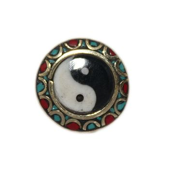 Adjustable Ring Turquoise Ring Ying Yang Ring Handmade Ring Tibetan Ring Gypsy Ring Tribal Ring RB262