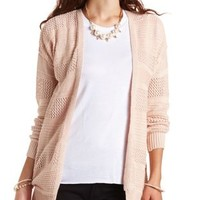 Textured Stripe Open Cardigan Sweater by Charlotte Russe - Pale Pink