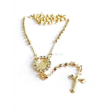 Cz  Virgen Mary 18k Gold Plated Rosary