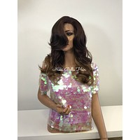 Brown Blonde Ombre SWISS Human Hair Blend Multi Parting Lace front Wig - Olivia