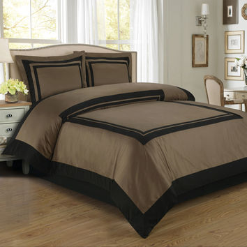 Hotel Taupe/Black Egyptian Cotton Duvet Cover Set