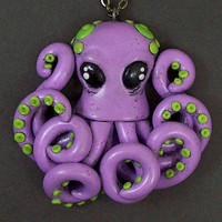 SALE Smaller Octopus Necklace in purple and green