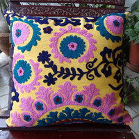 Yellow Color Suzani Work Cushion Cover, Bohemian Pillow Cover, Outdoor Cushion Cover, Decorative Room Decor, Size 16 x 16 Inches