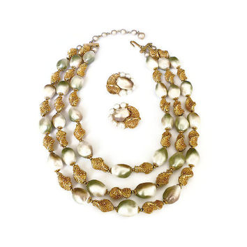 Trifari Necklace Earrings Baroque Pearl Gold Tone Textured Sixties 1960s Vintage Jewelry Set