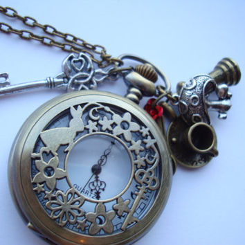 Alice in Wonderland Pocket Watch Necklace with charms