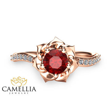 14K Rose Gold Ruby Ring  Flower Engagement Ring Unique Ruby Ring