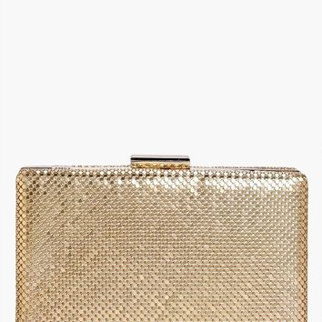 Honey Couture MISHA Gold Chainmail Box Clutch Bag