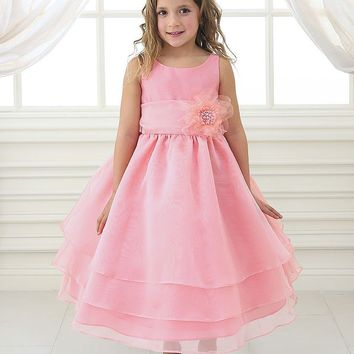 Adorable Coral Overlay Flower Girl Dress with Sash and Flower