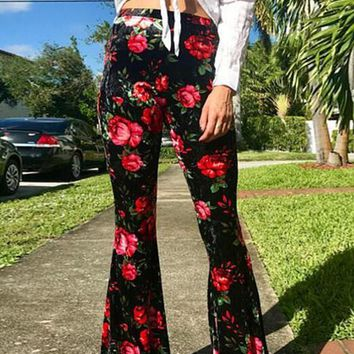 Black Red Floral Print High Waisted Casual Bell Bottom Pant