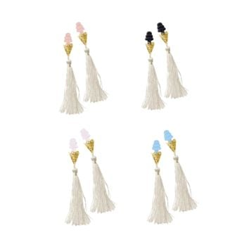 BREAKFAST AT TIFFANY'S INSPIRED WHITE TASSEL SLEEPING EARPLUGS