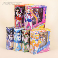 "Sailor Moon Anime Moon + Mercury + Mars +Venus + Jupiter + Saturn Set PVC Action Figures Collectible Toys 6"" 14CM"