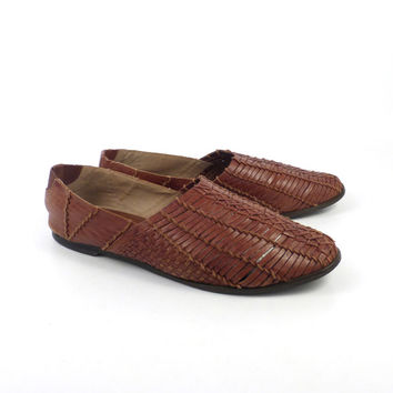 Brown Woven Sandals Vintage 1980s Leather Huaraches Women's