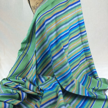 Kikoy Woven Cotton Fabric--Kenyan Fabric--Made in Kenya--Striped Greens and Blues--African Fabric by the HALF YARD
