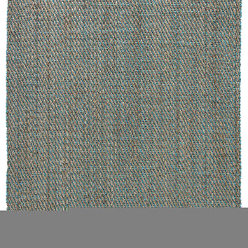 Naturals Stripes Pattern Neutral/Blue Jute Area Rug ( 2x3)