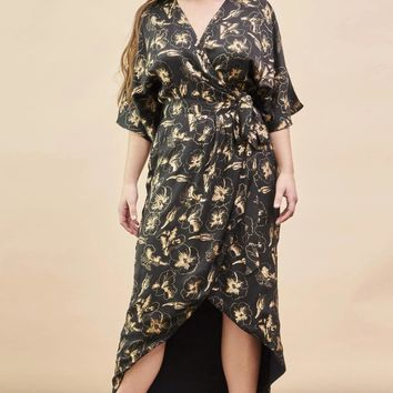 Hibiscus Flower Kimono Wrap Dress in Black + Gold