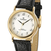 Champion CN28026B Women's Watch Gold-Tone Stainless Steel With Black Leather Strap
