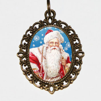 Santa Claus Necklace, Christmas Jewelry, Snowflakes, Happy Holidays, Bronze Oval Pendant