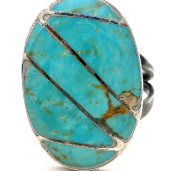 Inlay Turquoise Sterling Silver Ring Size 10