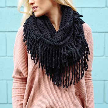 Knit Fringe Infinity Scarf in Black