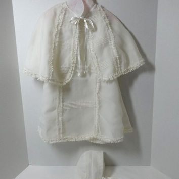 1970s Vintage 3 Piece Baby Dress Ensemble: Dress, Cape, Bonnet, White Nylon Organza with Lace Trim, Vintage Baby Dress, Christening Baptism