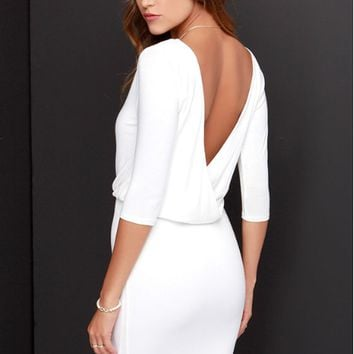 V Back Elastic Waist Pencil Dress