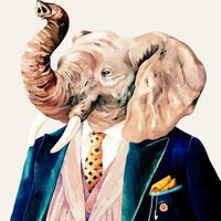 """Elephant (Cream Background)"" - Art Print by Animal Crew"