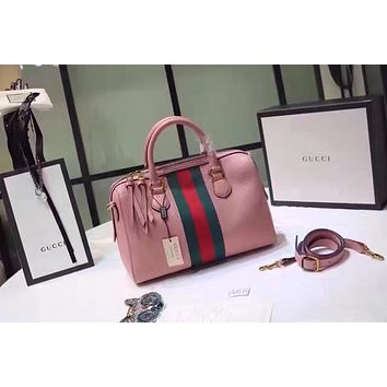 64d682fc920656 GUCCI WOMEN'S NEW STYLE LEATHER BOSTON HANDBAG SHOULDER BAG