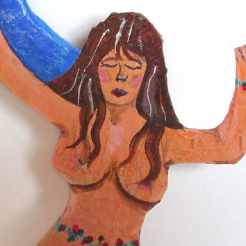 Paper mache wall hanging. Wall Decor. Wall Art. Woman Dancer. Blue Moon. Summer Solstace. Pagan Dance. Irish Dance. Celtic Dance. Naked Lady