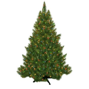 4.5' Evergreen Fir Faux Christmas Tree With 250 Pre-Lit Multicolored Lights