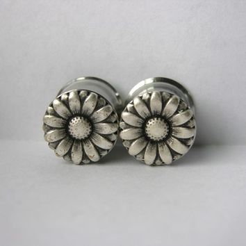 1/2 3/4 Inch Silver Daisy Plugs 12mm 19mm Sale