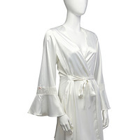 BetseyJohnson.com - SULTRY STRETCH SATIN AND LACE ROBE WHITE PEARL