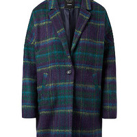 Blue Premium Check Print One Button Front Boyfriend Coat